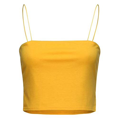 - Sunhusing Ladies Solid Color Sexy Spaghetti Sling Wrapped Camisole Bottoming Shirt Beach Holiday Crop Tops Yellow