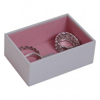 Mini STACKERS La Collection de 3 Bo/îtes /à Bijoux Empilables Gris Doux avec la Doublure Rose Antique