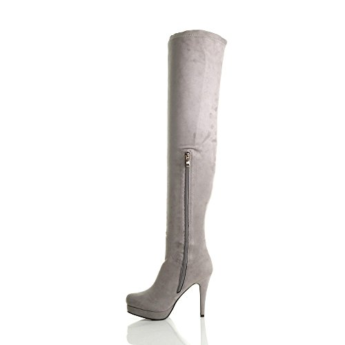 thigh platform high zip Womens Grey over Suede knee ladies stretch Light heel size boots the zwfx4Xq5