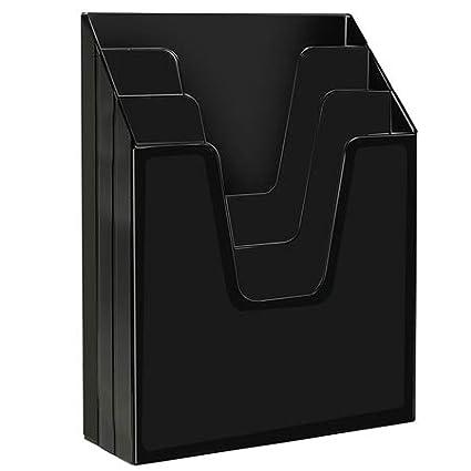 Acrimet Organizador Vertical con 3 Compartimientos para Escritorio o Pared Color Negro