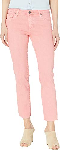 KUT from the Kloth Women's Reese Ankle Straight Leg Jeans w/Raw Hem in Coral Coral 8 27
