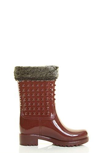 Evigt Länkar Womens Rund Tå Pyramid Stud Gelé Regn Snö Odåga Resistenta Fotled Tossor Boot Bourgogne