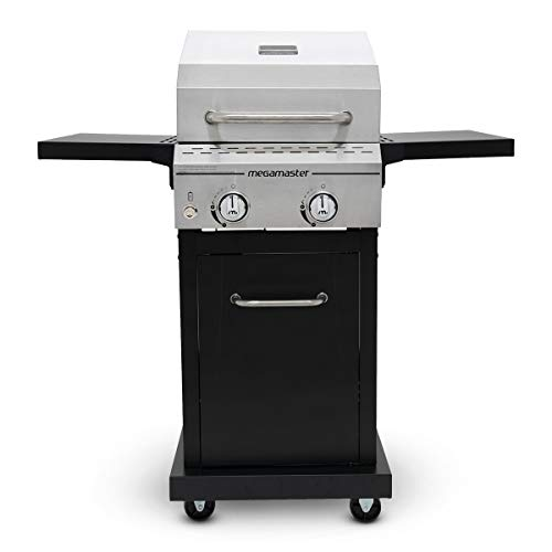 Megamaster 720-0864MA Propane Gas Grill, Stainless Steel + Black