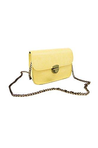 de del hombro de color cuero bolsa Moda de mujer de amarillo Mini de amarillo cuerpo de PU mensajero Nuevo Bolsas cadena caramelo de Bolsa cruzado TOOGOO qtB6UHznq
