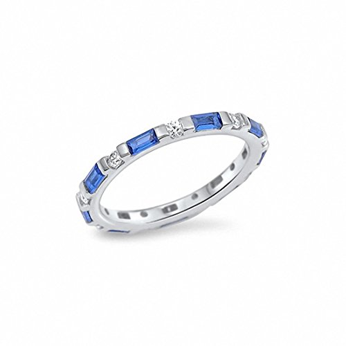 (3mm Full Eternity Simulated Baguette Blue Sapphire Round Cubic Zirconia 925 Sterling Silver,Size-7)