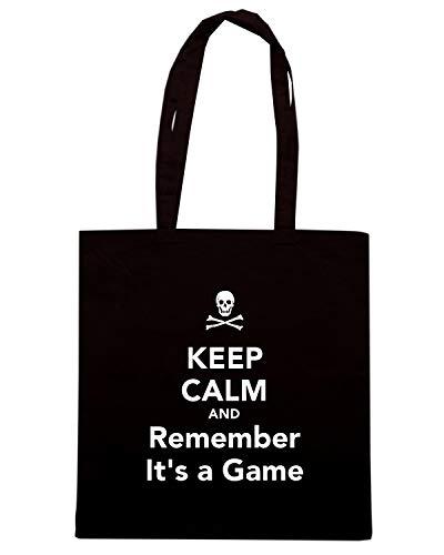 GAME IT'S Nera Borsa Shopper TKC3433 AND KEEP A REMEMBER CALM 7cz0W4crvA