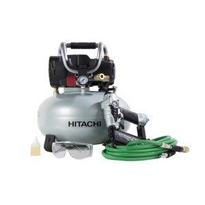 Hitachi KNT50AB Finish Combo Kit (Includes NT50AE2 Brad Nailer + EC710S Pancake Compressor)