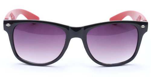 80's Classic Wayfarer Style Retro Two Tone Framed Comforatable Sunglasses in - Framed Red Sunglasses