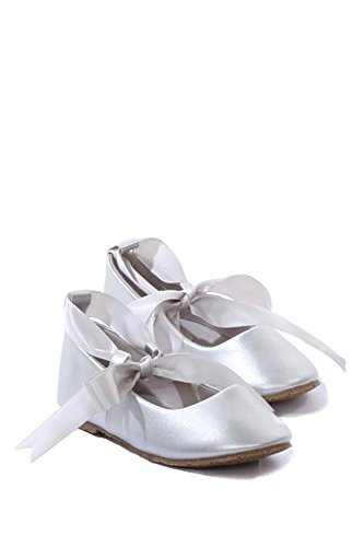 Ballerina Ribbon Tie Rubber Shoes Cinderella Flats with Flower Toddler Party Sliver Size 7