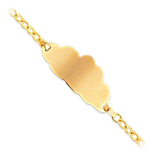 Orleo - REF10960BB : Bracelet identité Enfant Or 18K jaune - Nuage 14 cm - Fabriqué en France