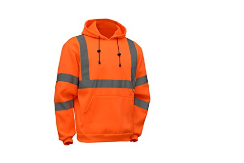CJ Safety CJHVSS3003 ANSI Class 3 High Visibility Hoodie Long Sleeve Safety Fleece Pullover Sweatshirt (Medium, Orange) ()