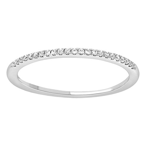 1/10 cttw 14k Gold Round White Diamond Ladies Dainty Anniversary Wedding Band Stackable Ring (white-gold, 9) by eSparkle