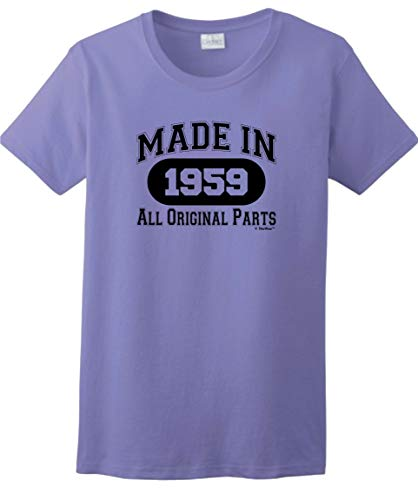 60th Birthday Gifts for Dad 60th Birthday Gift Made 1959 All Original Parts Ladies T-Shirt Large Violet