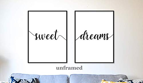 (Sweet Dreams Unframed 18 x 24 Inch Large Typography Art Nursery Wall Art Home Wall Art Poster Matte)