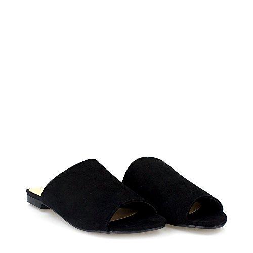 Naya Ladies Womens Flat Slip On Open Toe Mule Open Back Sandal BLACK SUEDETTE 179uxik