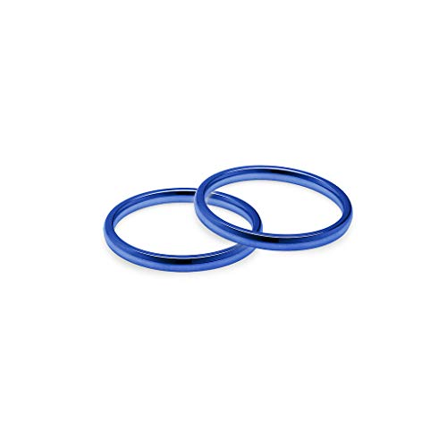 - IJewel - Set of 2 Stackable Wedding Bands | 2mm Ring in Stainless Steel Blue Tone Size 7.5
