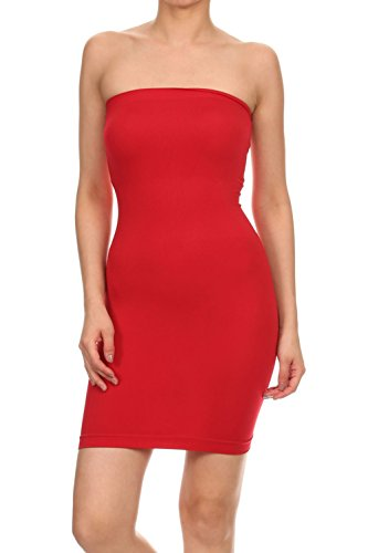 Vialumi Women's Juniors Strapless Tube Stretch Fit Mini Dress Red One Size