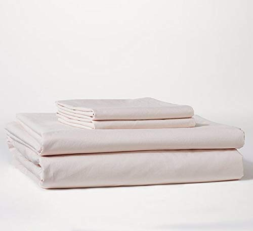 Bokser Home Percale California King Bed Sheets Set, Blush - 100% Long Staple Cotton | Cool, Crisp, Breathable | Extra Deep Pockets to Fit Any Mattress | Certified Chemical-Free