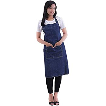 Cote De Amor Adjustable Bib Apron with Pocket and Extra Long Ties, 32x28 Professional Chef Kitchen Apron 100% Cotton, Machine Washable Durable Cooking Apron for Women and Men, Denim Blue