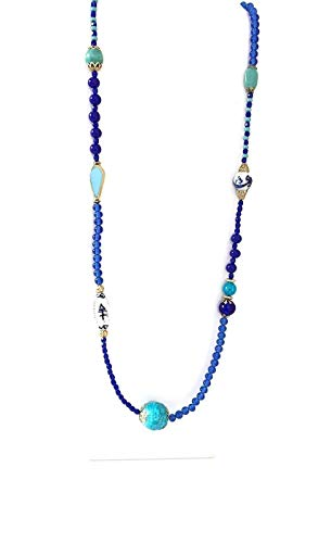 Royal Blue, Aqua, Gold, Delft, illusion Long Necklace
