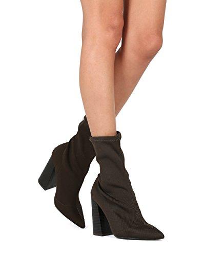 Alrisco Women Block Boot Boot Calzino - Stivaletto Chunky Punta A Punta - Dressy Stivaletto Alla Moda Versatile Alla Moda - He46 By Wild Diva Collection Olive Fabric