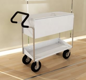 Charnstrom Long Solid Metal Mail Cart with Locking Top and Easy Push Handle (B285E)