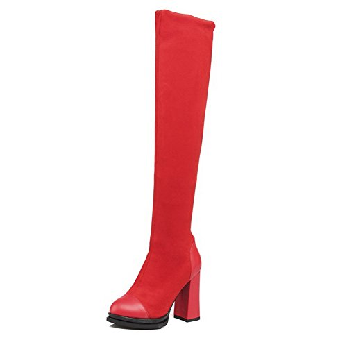 Boots AgooLar High Pull Top High Heels Solid Materials Blend Women's Red On 1rx1v