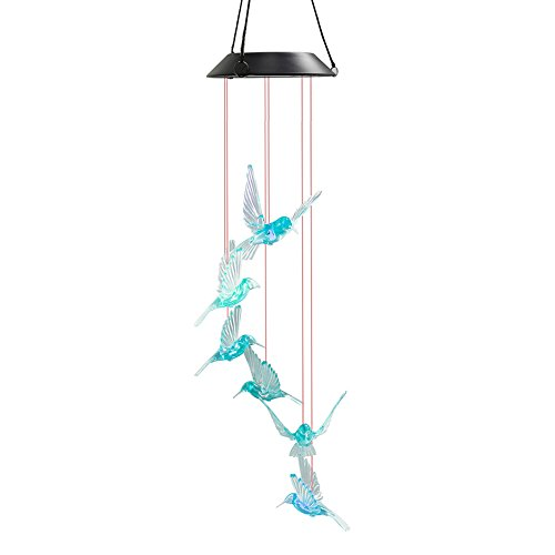 WeeCosy Color-Changing Hummingbird LED Solar String Lights Mobile Wind Chimes Christmas,Night Light, Garden, Festival, Décor Party etc