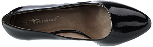 con 22423 Donna Tamaris Patent Nero Scarpe Tacco Black qBF8aU4