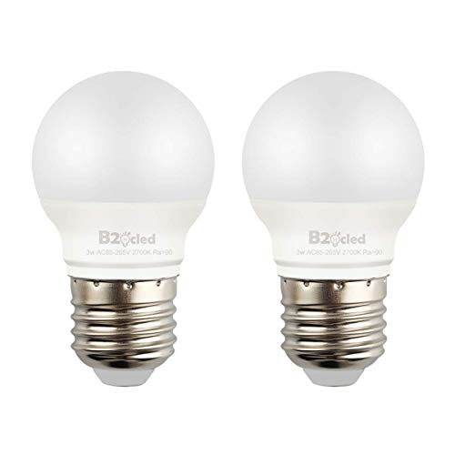 B2ocled 25 Watt Equivalent LED Light Bulb,3W A15 Lamp Warm White 2700K Non-Dimmable, E26/E27 Base, CRI90+, 240-Lumen, 2-Pack ()