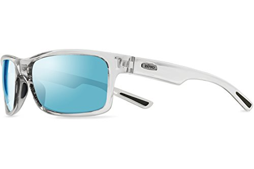 Revo Crawler Sunglasses, Clear Crystal Frame, Blue Water, 57mm - Glass Lens Sunglasses Revo
