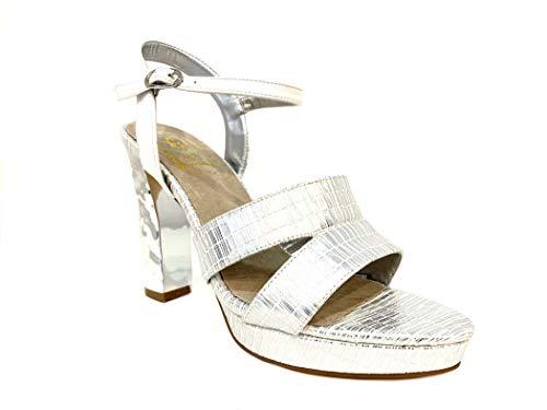 Elegant Matrimonio White Cerimonia Shoes Scarpe Sandal Sandalo Bride Sandali High Heel Particolare Tacco Donna Silver Particular Argento Wedding Sposa Plateau Bianco Elegante Alto Dream Woman qqOwfBZ