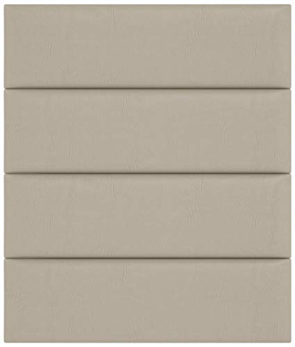 """VANT Upholstered Headboards - Accent Wall Panels - Packs of 4 - Vitage Leather Dusty Taupe - 39"""" Wide x 11.5"""" Height - Easy to Install - Twin - King Size Headboard"""