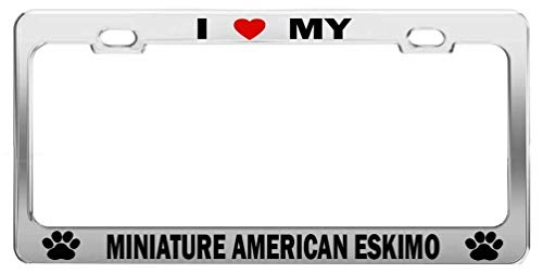 Guang trading I Heart My Miniature American Eskimo Dog Cat Breed License Plate -