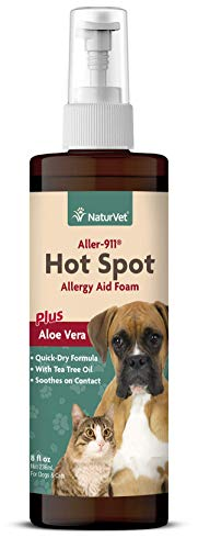 NaturVet - Aller-911 Hot Spot Allergy Aid Foam Plus Aloe Vera - 8 oz - Helps to Relieve Itchy & Irritated Skin - Enhanced with Bittering Agent to Deter Gnawing & Chewing - For Dogs & Cats