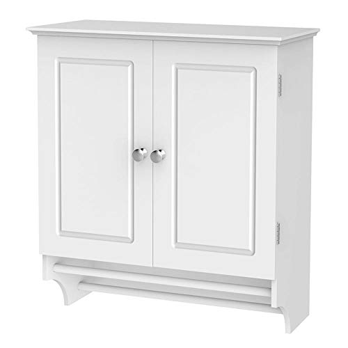 Double Door Utility Cabinet - Yaheetech Bathroom/Kitchen Wall Mounted Cabinet White Double Door & Hanging Bar Storage Cupboard