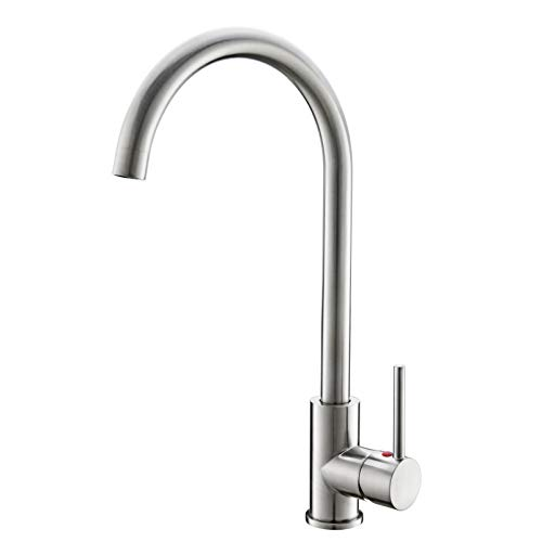 360 Degree Swivel Spout - High Arch Kitchen Faucet Brushed Nickel, 360 Degree Swivel Spout Kitchen Sink Faucet Hot and Cold Water Mixer, Modern Lead-Free Commercial Bar Sink Faucet fit for 1 hole Single Handle Faucet Anti-Rust