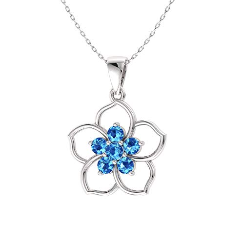 (Diamondere Natural and Certified Blue Topaz Flower Necklace in 14k White Gold | 0.21 Carat Pendant with Chain)