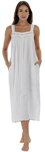 The 1 for U Nightgown 100% Cotton Sleeveless + Pockets Meghan (XL, White)