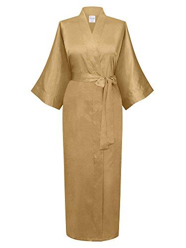 Swhiteme Women's Kimono Robe, Long, One Size (Champagne)
