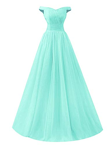 Prom Lace Long Shoulder Evening Green up Mint Bess Tulle Bridal Dress Women's Off Party 80wqfxEHI