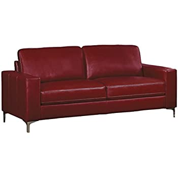 Homelegance Track Arm Sofa with Metal Accent Leg Leather Gel Match, Red