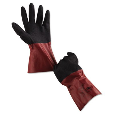 Ansell Cotton Gloves (AnsellPro 5853010 AlphaTec Chemical-Resistant Glvs Size 10 Nitrile/Knit Burgundy/Black 6 Pairs)