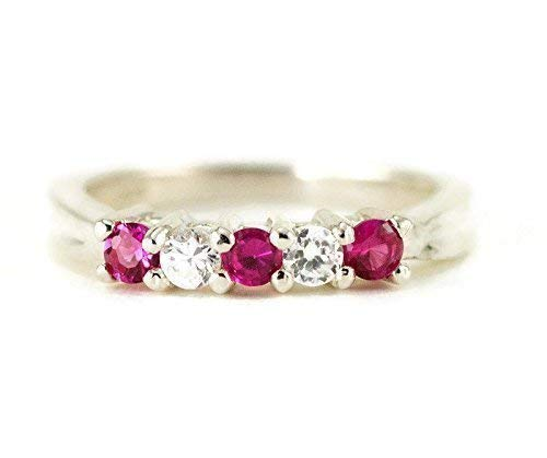 Five Stone Sterling Anniversary or Birthstone Ring - Choose Your Gemstone