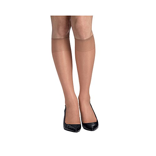 Hanes Silk Reflections Silky Sheer Knee High RT 6 Pack (00775) -Natural -ONE SIZE