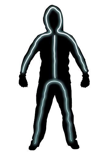 Hsctek Light up Stick Figure Costume for Kids, Boys Girls Stick Man Halloween Costume(White, 5-6Y) -