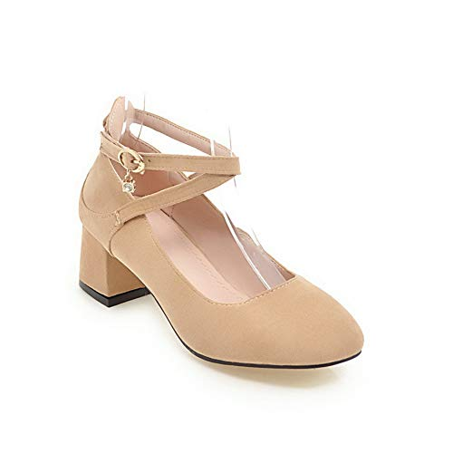 BalaMasa Womens Solid Travel Nubuck Leather Pumps Shoes APL10591 apricot
