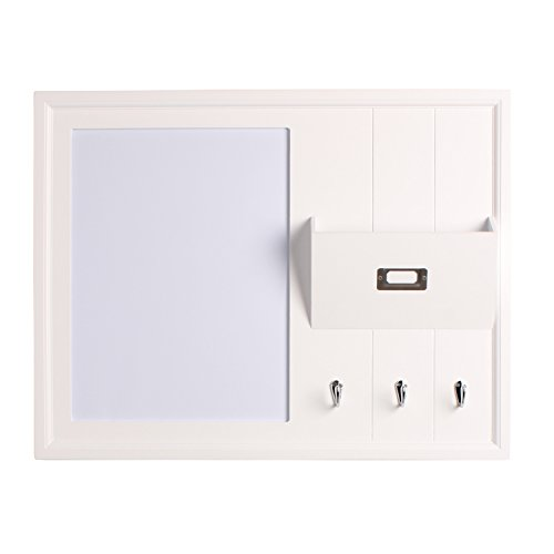DesignOvation Dagny Decorative Wood Home Organizer with Dry Erase Board Mail Holder and Key Hooks White