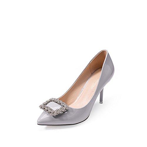 PUMPS Schuhe Strass Koreanische Version der chao-Pointed Flachen Mund Schuhe,Stiletto Heels-B Fußlänge=22.8CM(9Inch)