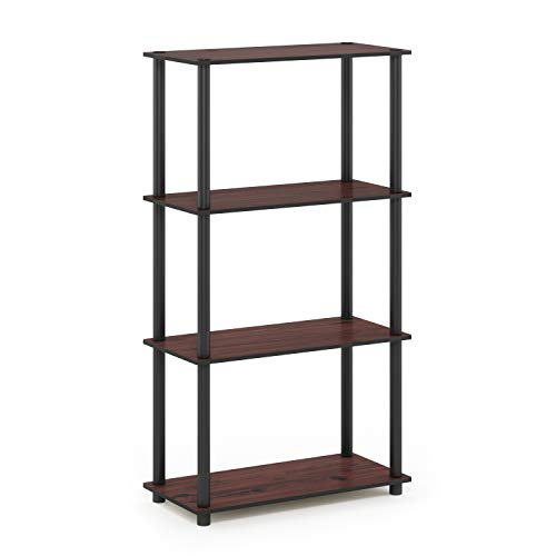 (Furinno 99557DC/BK Turn-N-Tube 4-Tier Display Rack, Single, Dark Cherry/Black)